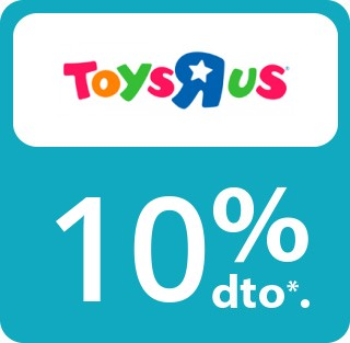 10% de descuento directo en articulos de marca propia Toys R Us, para socios club happy shopping. No valido en online. No acumulabe a otras promociones o rebajas. Sin comprar minima