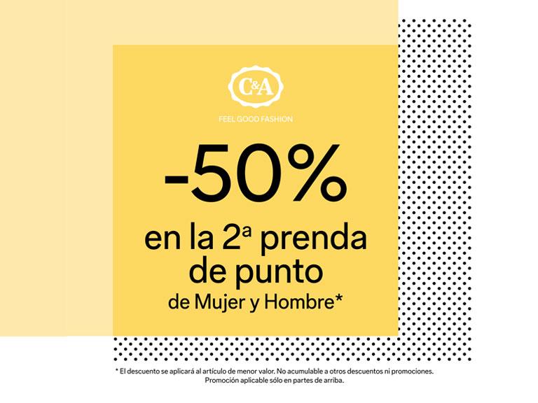 -50% 2ª prenda de punto de Mujer y Hombre